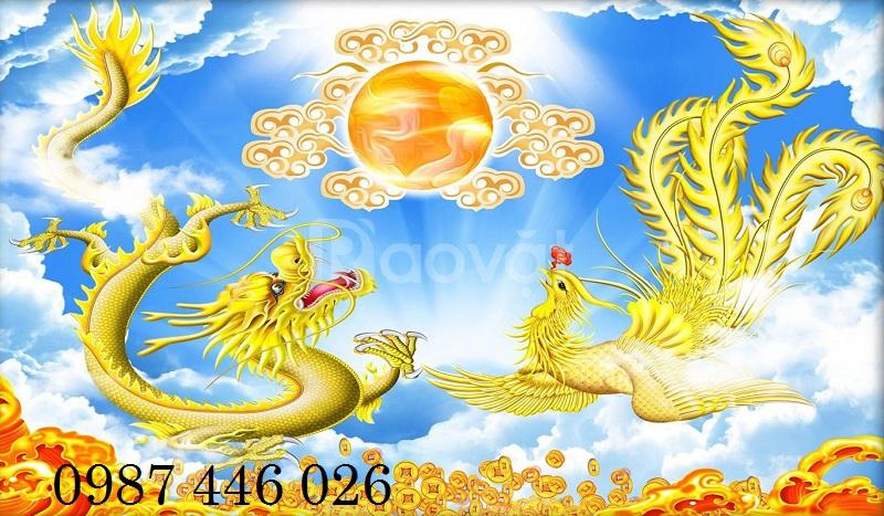 Gạch tranh rồng vàng long phụng sum vầy