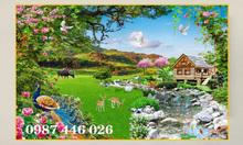 Tranh gạch men phong cảnh thảo nguyên thiên nhiên HP7941