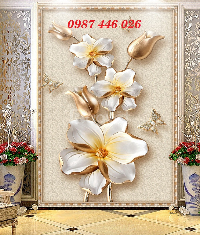 Gạch tranh hoa 3d, tranh gạch men HP522