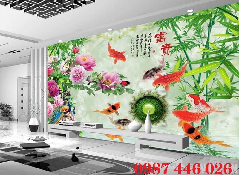 Tranh cá chép, gạch tranh ốp tường HP0134