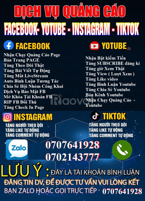Dịch vụ Facebook, Youtube
