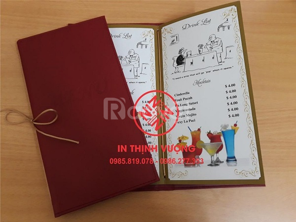 In menu, chuyên menu bìa da cho nhà hàng