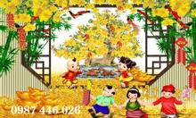 Gạch tranh hoa mai lộc vàng HP18874