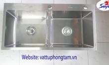 Bồn rửa chén 2 hố 82x45cm, inox 304, thiết bị vệ sinh Senyal