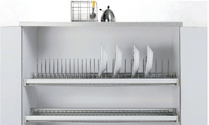 Giá bát đĩa tủ bếp cố định 2 tầng, Inox 304