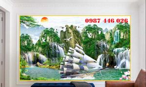 Gạch tranh thuyền buồm phong cảnh HP013