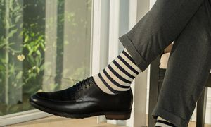 Giày da dáng Derby nam phối kẻ ô mã GNLA0135-D
