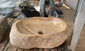 Chậu rửa lavabo đá tự nhiên, đá cuội nguyên khối giá rẻ