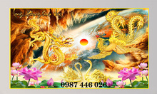 Gạch tranh rồng phượng vàng Hp348