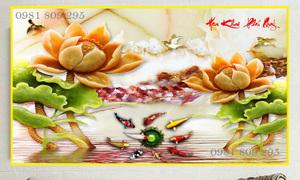 Tranh gạch 3d hoa sen sứ ngoc GF56
