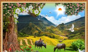 Gạch tranh phong cảnh cánh đồng quê hương Hp246