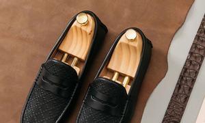 Giày lười nam họa tiết kẻ ca rô mã GNLA12996-D