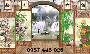 Gạch tranh phong cảnh cửa sổ Hp67